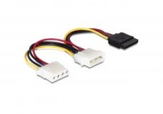 Delock Kabel Power SATA HDD > 2x 4pin Stecker Adapter